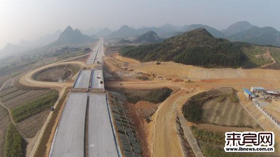 图为柳武高速象州段马坪互通航拍图.(沙龙 摄)